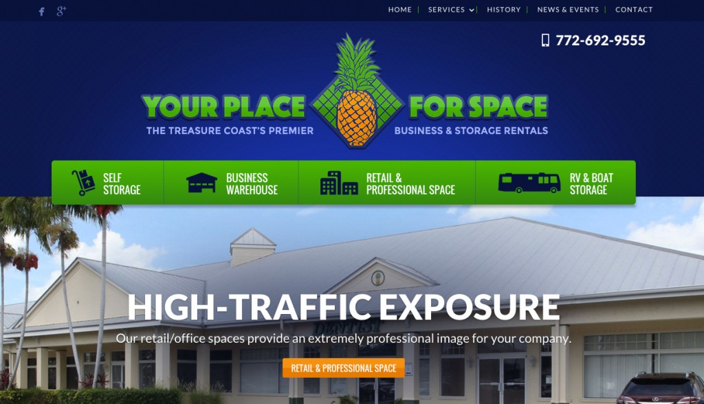 Self Storage and Retail Office Web Design in FL